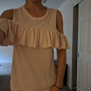 Ruffle off the shoulder T